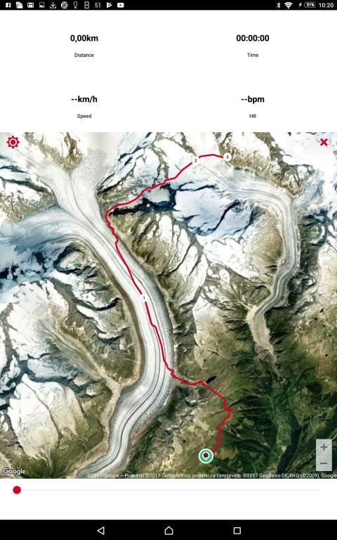 Gps naše poti- 20 km skupno, samega ledenika pa okoli 9 km.