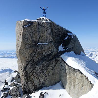 na vrhu prv. smeri in še neosvojenega vrha!