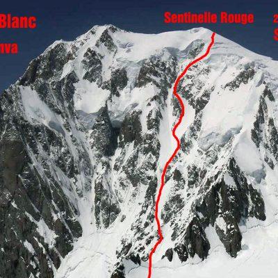Vzhodna stena Brenve z vrhom Mont Blanca in vrisano smerjo Sentinell Rouge »rdeča pred straža«