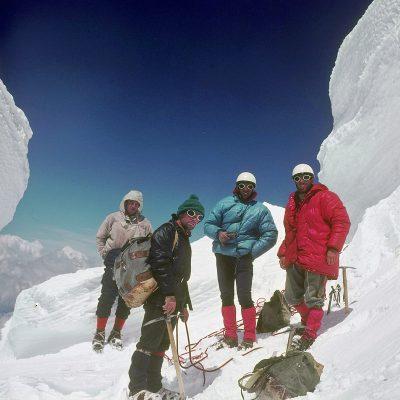 Na izstopu iz smeri pod vrhom Mont Blanca: Taler Polde, Jamnik Tomaž, Belehar Iztok in Ekar Franci