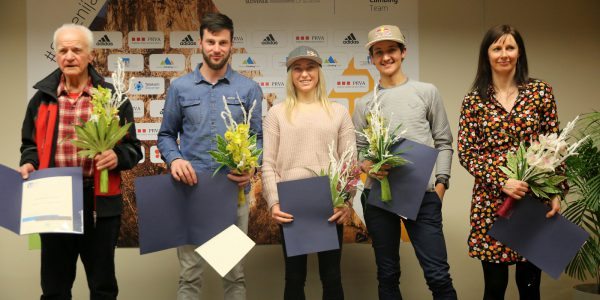 Anton Sazonov - Tonač, Jernej Kruder, Janja Garnbret, Luka Kovačič in Maja Šuštar. Foto: Oto Žan